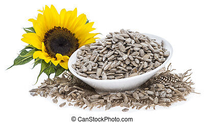 Portion of Seeds - Portion of Sunflower Seeds isolated on...