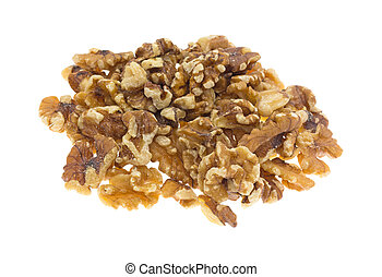 Portion of shelled walnuts on a white background