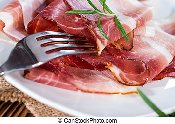 Portion of sliced Ham