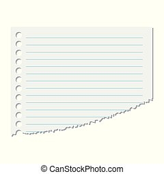 Portion of the sheet of paper in a line on an isolated white background. Vector illustration.