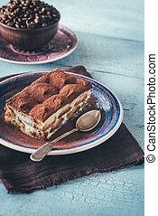 Portion of Tiramisu dessert