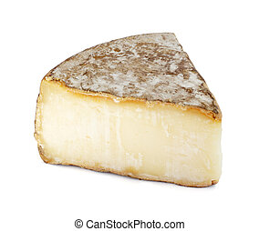 Portion of Tomme de savoie Cheese isolated on white background