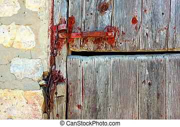 Portion of Wooden Barn Door