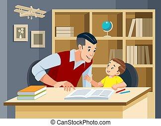 portion, père, devoirs, vecteur, illustration, amical, fils, concept, family., sourire.