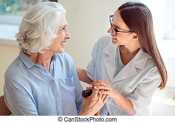 portion, personne agee, patient, infirmière, jeune