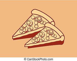 portion, pizza, délicieux, icône