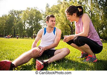 portion, -, skada, sport, hand