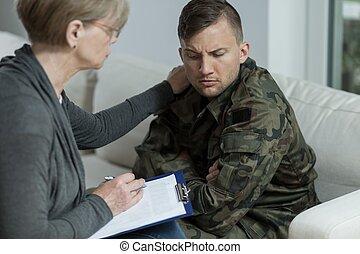 portion, vétéran, guerre, psychiatre
