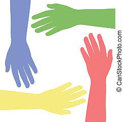 portion, vektor, hands., abbildung
