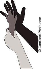 portion, vektor, silhouette, hände