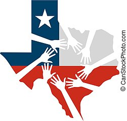 portion, vektor, texas, abbildung, hände