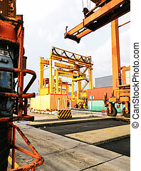 portique, essayé, (rtg), grues, caoutchouc, industriel, port