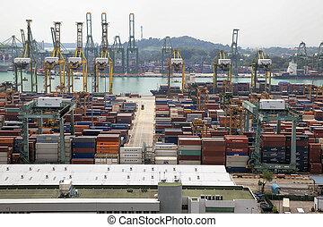 portl, közül, szingapúr, hajógyár, noha, tároló
