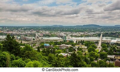 Portland Above Downtown Cloudy - Time lapse of downtown...