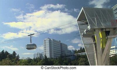 Boarding platform and aerial tram in Portland, Oregon