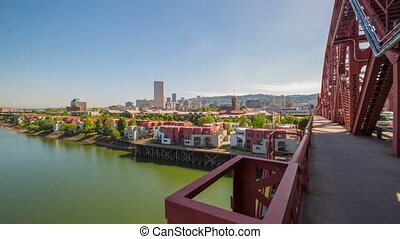 Portland Broadway Brdg Downtown 614 - Time lapse of the...