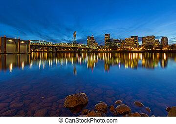 Portland by Hawthorne Bridge Blue Hour