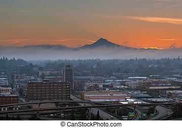 Portland City Eastside at Sunrise - Portland Oregon downtown...