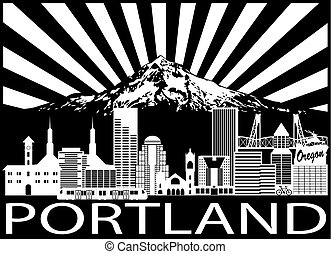 Portland City Skyline and Mount Hood Black White...