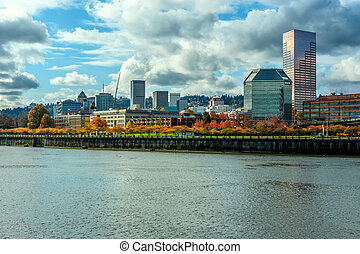Portland city skyline at autumn