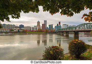 Portland City Skyline Framed by Fall Foliage