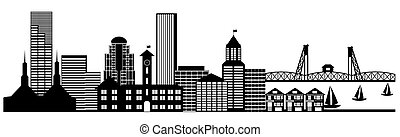 Portland City Skyline Oregon Panorama Black and White Silhouette Clip Art Illustration