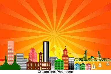 Portland City Skyline Panorama
