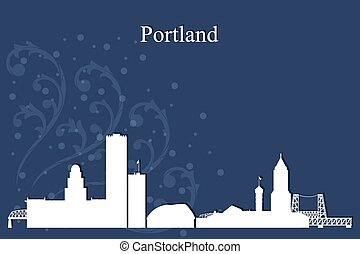 Portland city skyline silhouette on blue background