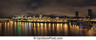 Portland City Skyline with Bridges at Night - Portland...
