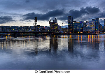 Portland City Skyline with Hawthorne Bridge at Dusk