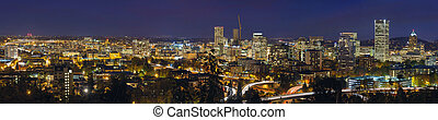 Portland Oregon Downtown Cityscape and Freeway at Evening Blue Hour Panorama