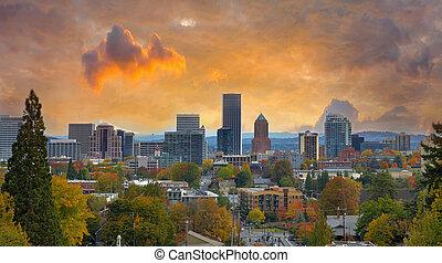 portland, cityscape, em, outono
