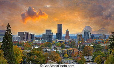 Portland Cityscape in Fall