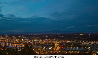 Portland Downtown Above Night 651 - Time lapse of downtown...