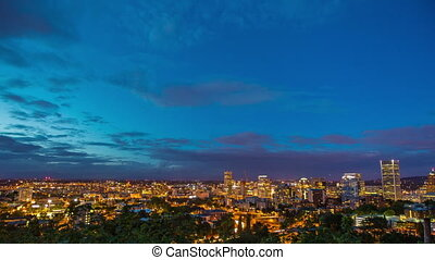 Portland Downtown Above Night 660 - Time lapse of downtown...