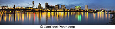 Portland Downtown Along Willamette River at Blue Hour -...