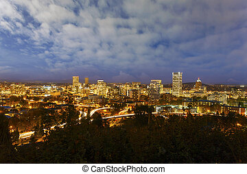 Portland Downtown Cityscape at Blue Hour - Portland Oregon...