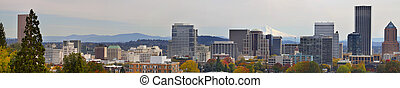 Portland Downtown Cityscape in the Fall Panorama 2