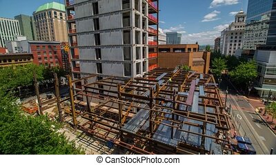 Portland Downtown Const Site 606 - Time lapse of downtown...