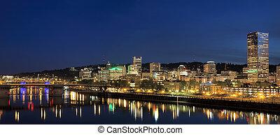 Portland Downtown Skyline at Blue Hour