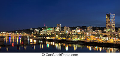 Portland Downtown Skyline at Blue Hour