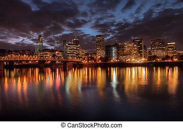 Portland Downtown Skyline at Night from Eastbank Esplanade