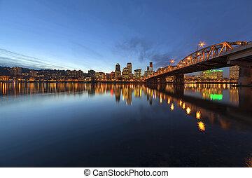 Portland Downtown Skyline by Hawthorne Bridge at Blue Hour