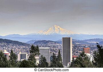 Portland Downtown Skyline Mount Hood