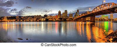 Portland Downtown Skyline Night Panorama 2