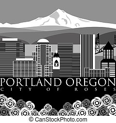 Portland Downtown Skyline with Mount Hood and River - ...