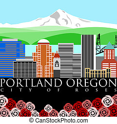 Portland Downtown Skyline with Mount Hood and River Colors -...