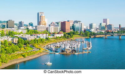 Portland Downtown Waterfront 705 - Time lapse of downtown...