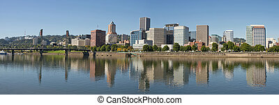 Portland Downtown Waterfront Skyline Panorama