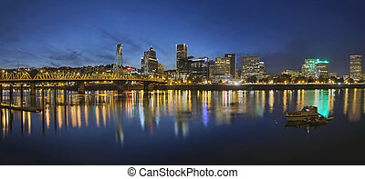 Portland Downtown with Hawthorne Bridge at Blue Hour -...